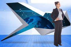 Stock Illustration of Composite image of serious businesswoman