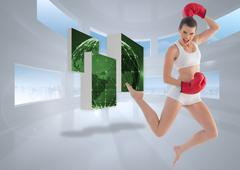 Composite image of motivated fit brown haired model in sportswear jumping - stock illustration