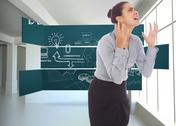 Stock Illustration of Composite image of frustrated businesswoman shouting