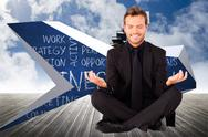Stock Illustration of Composite image of happy man doing yoga exercises