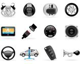 Stock Illustration of car options, accessories and  features icon set