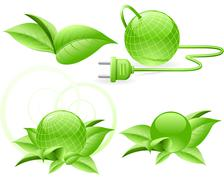 Green globe with plug and with leaves Stock Illustration