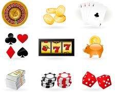 Playing cards, roulette wheel and gambling chips Stock Illustration