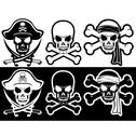 Stock Illustration of jolly roger, pirate attributes, skull and crossbones silhouette