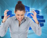 Composite image of furious businesswoman gesturing Stock Illustration