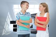 Stock Illustration of Composite image of smiling brother and sister holding their exercise books