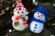 Stock Photo of Two snowman Christmas tree