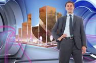 Stock Illustration of Composite image of cheerful businessman with hand on hip