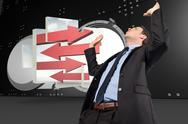Stock Illustration of Composite image of businessman posing with arms raised