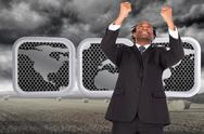 Stock Illustration of Composite image of happy businessman with raised arms