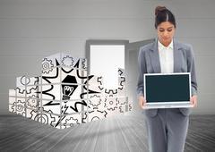 Composite kuva liikenainen katsot laptop käsiinsä Piirros
