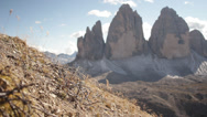 Stock Video Footage of Tre Cime and barb wire from WWI