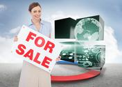 Stock Illustration of Composite image of estate agent posing with for sale sign