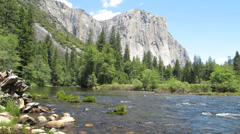 Merced River & El Capitan, Yosemite National Park, 30s 720p - stock footage