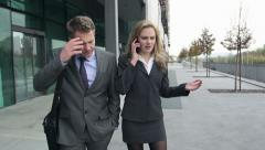 Slow Motion: Stressed Business Couple Receives Bad News Over The Phone. Stock Footage