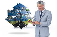 Stock Illustration of Composite image of cheerful businessman sending text message