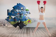 Composite image of confident fit brown haired model in sportswear jumping and - stock illustration