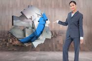 Stock Illustration of Composite image of standing businesswoman presenting