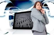Stock Illustration of Composite image of worried businesswoman