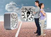 Stock Illustration of Composite image of young couple standing back to back
