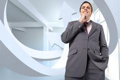 Stock Illustration of Composite image of thoughtful businessman with hand on chin