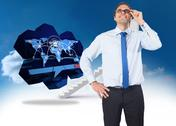 Stock Illustration of Composite image of thinking businessman tilting glasses