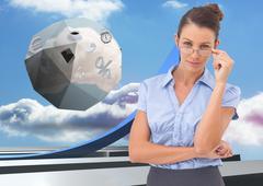 Composite image of businesswoman adjusting her glasses Stock Illustration