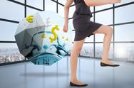 Stock Illustration of Composite image of businesswoman stepping up