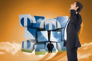 Stock Illustration of Composite image of thinking businessman scratching head