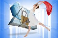 Stock Illustration of Composite image of young beautiful female dancer with red scarf