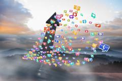 Composite kuva värikäs tietokone sovelluksia Piirros
