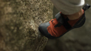 Stock Video Footage of Climbing shoe on granite