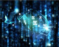 Stock Illustration of Composite image of social network background