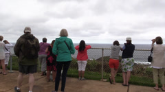 People crowd to watch for whales Stock Footage