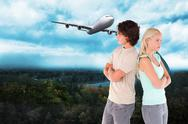 Stock Illustration of Composite image of unhappy couple posing