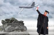 Stock Illustration of Composite image of delighted boy celebrating his graduation