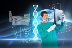 Composite image of close up of male doctor wearing coat looking at x-ray - stock illustration