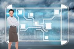 Composite image of elegant businesswoman standing with arms crossed - stock illustration