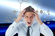 Stock Illustration of Composite image of stressed businessman shouting