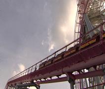 Yokohama Roller Coaster and Ferris Wheel Stock Footage