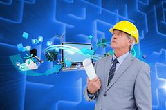 Composite image of mature architect taking a close look - stock illustration