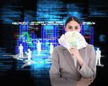 Stock Illustration of Composite image of young businesswoman hiding her face behind bank notes
