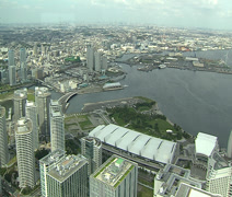 Yokohama harbour and skyline - stock footage