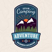 Camping adventure badge emblem Stock Illustration