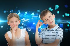 Stock Illustration of Composite image of pensive brother and sister posing together
