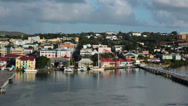 Stock Video Footage of St Johns Antigua harbor port colorful buildings HD 1326
