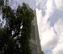 Landmark Tower and Nihonmaru Tallship Stock Footage