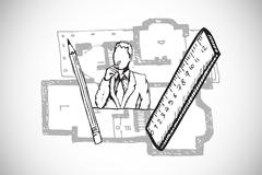 Stock Illustration of Composite image of architect doodle