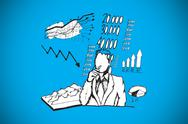 Stock Illustration of Composite image of businessman thinking of data doodle