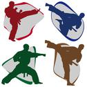 Stock Illustration of Combat karate martial arts symbols. LOGO SET